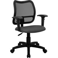 Mid-Back Mesh Swivel Task Chair with Gray Fabric Padded Seat and Height Adjustable Arms