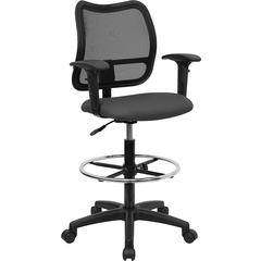 Flash Furniture Mid-Back Mesh Drafting Chair with Gray Fabric Seat and Height Adjustable Arms