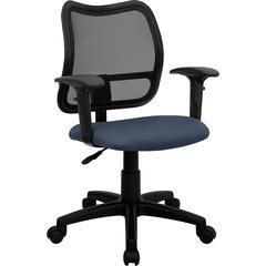 Flash Furniture Mid-Back Mesh Swivel Task Chair with Navy Blue Fabric Padded Seat and Height Adjustable Arms