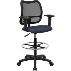 Flash Furniture Mid-Back Mesh Drafting Chair with Navy Blue Fabric Seat and Height Adjustable Arms