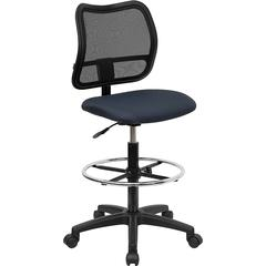 Flash Furniture Mid-Back Mesh Drafting Chair with Navy Blue Fabric Seat