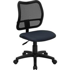 Flash Furniture Mid-Back Mesh Swivel Task Chair with Navy Blue Fabric Padded Seat