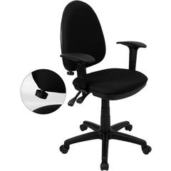 Mid-Back Black Fabric Multi-Functional Swivel Task Chair with Adjustable Lumbar Support and Height Adjustable Arms