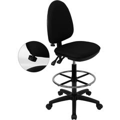 Mid-Back Black Fabric Multifunction Drafting Chair with Adjustable Lumbar Support