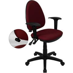 Mid-Back Burgundy Fabric Multi-Functional Swivel Task Chair with Adjustable Lumbar Support and Height Adjustable Arms