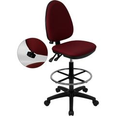 Mid-Back Burgundy Fabric Multifunction Drafting Chair with Adjustable Lumbar Support