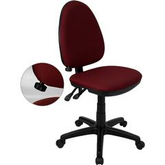 Flash Furniture Mid-Back Burgundy Fabric Multi-Functional Swivel Task Chair with Adjustable Lumbar Support