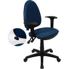 Flash Furniture Mid-Back Navy Blue Fabric Multi-Functional Swivel Task Chair with Adjustable Lumbar Support and Height Adjustable Arms