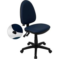 Mid-Back Navy Blue Fabric Multi-Functional Swivel Task Chair with Adjustable Lumbar Support
