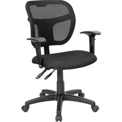 Mid-Back Mesh Swivel Task Chair with Black Fabric Padded Seat and Height Adjustable Arms