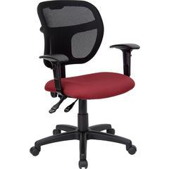 Mid-Back Mesh Task Chair with Burgundy Fabric Seat and Arms