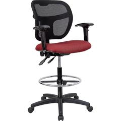 Mid-Back Mesh Drafting Stool with Burgundy Fabric Seat and Arms