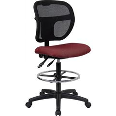 Flash Furniture Mid-Back Mesh Drafting Stool with Burgundy Fabric Seat