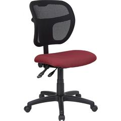 Mid-Back Mesh Task Chair with Burgundy Fabric Seat
