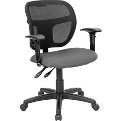 Flash Furniture Mid-Back Mesh Swivel Task Chair with Gray Fabric Padded Seat and Height Adjustable Arms