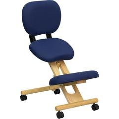 Flash Furniture Mobile Wooden Ergonomic Kneeling Posture Chair in Navy Blue Fabric with Reclining Back