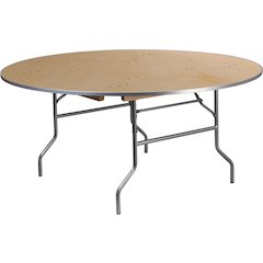 66'' Round HEAVY DUTY Birchwood Folding Banquet Table with METAL Edges