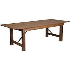 HERCULES Series 8' x 40'' Antique Rustic Solid Pine Folding Farm Table
