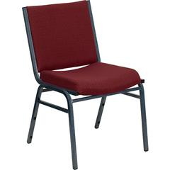 Flash Furniture HERCULES Series Heavy Duty, 3'' Thickly Padded, Burgundy Patterned Upholstered Stack Chair with Ganging Bracket
