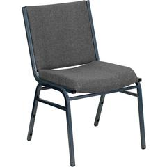 Flash Furniture HERCULES Series Heavy Duty, 3'' Thickly Padded, Gray Upholstered Stack Chair with Ganging Bracket