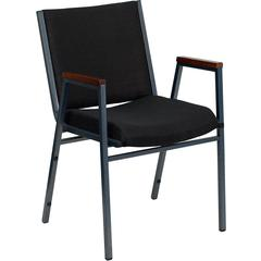 HERCULES Series Heavy Duty, 3'' Thickly Padded, Black Patterned Upholstered Stack Chair with Arms and Ganging Bracket