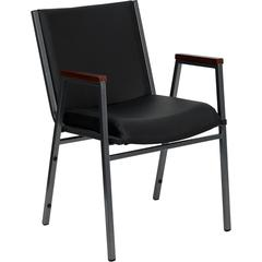 HERCULES Series Heavy Duty, 3'' Thickly Padded, Black Vinyl Upholstered Stack Chair with Arms and Ganging Bracket
