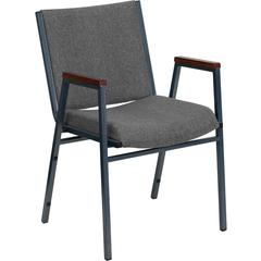 HERCULES Series Heavy Duty, 3'' Thickly Padded, Gray Upholstered Stack Chair with Arms and Ganging Bracket