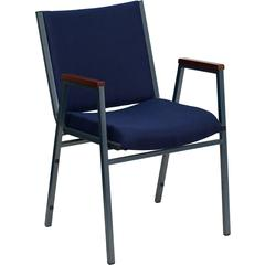 HERCULES Series Heavy Duty, 3'' Thickly Padded, Navy Patterned Upholstered Stack Chair with Arms and Ganging Bracket