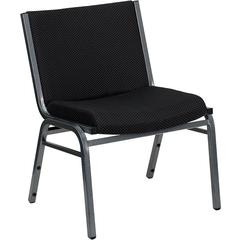 HERCULES Series 1000 lb. Capacity Big and Tall Extra Wide Black Fabric Stack Chair with Ganging Bracket