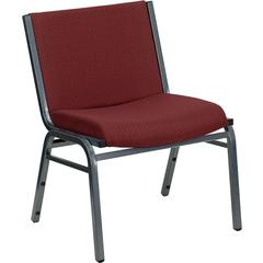 Flash Furniture HERCULES Series 1000 lb. Capacity Big and Tall Extra Wide Burgundy Fabric Stack Chair with Ganging Bracket