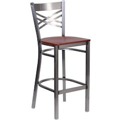 HERCULES Series Clear Coated ''X'' Back Metal Restaurant Barstool - Cherry Wood Seat