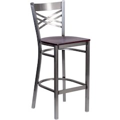 HERCULES Series Clear Coated ''X'' Back Metal Restaurant Barstool - Mahogany Wood Seat