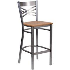 HERCULES Series Clear Coated ''X'' Back Metal Restaurant Barstool - Natural Wood Seat