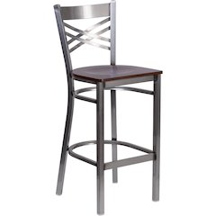HERCULES Series Clear Coated ''X'' Back Metal Restaurant Barstool - Walnut Wood Seat