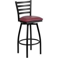 HERCULES Series Black Ladder Back Swivel Metal Barstool - Burgundy Vinyl Seat