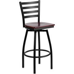 HERCULES Series Black Ladder Back Swivel Metal Barstool - Mahogany Wood Seat