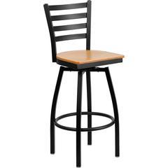 Flash Furniture HERCULES Series Black Ladder Back Swivel Metal Barstool - Natural Wood Seat