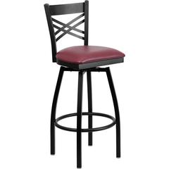 Flash Furniture HERCULES Series Black ''X'' Back Swivel Metal Barstool - Burgundy Vinyl Seat
