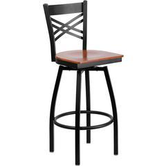 HERCULES Series Black ''X'' Back Swivel Metal Barstool - Cherry Wood Seat