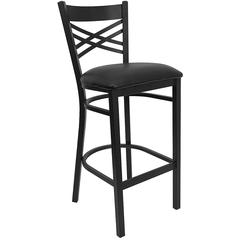 Flash Furniture HERCULES Series Black ''X'' Back Metal Restaurant Barstool - Black Vinyl Seat