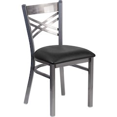 HERCULES Series Clear Coated ''X'' Back Metal Restaurant Chair - Black Vinyl Seat