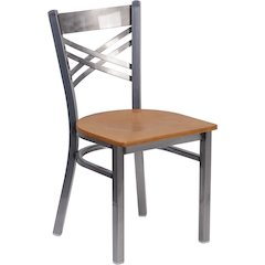HERCULES Series Clear Coated ''X'' Back Metal Restaurant Chair - Natural Wood Seat