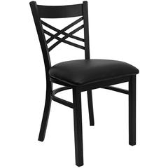 HERCULES Series Black ''X'' Back Metal Restaurant Chair - Black Vinyl Seat