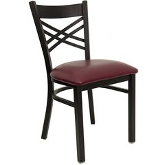 Flash Furniture HERCULES Series Black ''X'' Back Metal Restaurant Chair - Burgundy Vinyl Seat