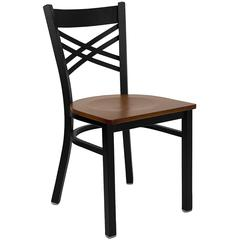 HERCULES Series Black ''X'' Back Metal Restaurant Chair - Cherry Wood Seat