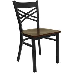 HERCULES Series Black ''X'' Back Metal Restaurant Chair - Mahogany Wood Seat