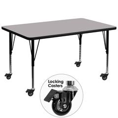 Mobile 24''W x 48''L Rectangular Activity Table with Grey Thermal Fused Laminate Top and Height Adjustable Preschool Legs