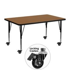 Mobile 24''W x 48''L Rectangular Oak Thermal Laminate Activity Table - Height Adjustable Short Legs