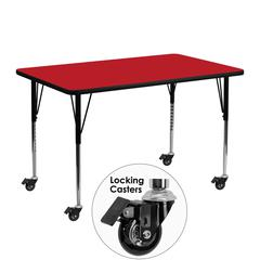Flash Furniture Mobile 24''W x 48''L Rectangular Activity Table with 1.25'' Thick High Pressure Red Laminate Top and Standard Height Adjustable Legs