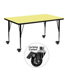 Mobile 24''W x 48''L Rectangular Activity Table with Yellow Thermal Fused Laminate Top and Height Adjustable Preschool Legs